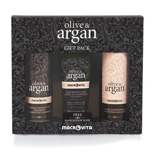 ZESTAW MACROVITA OLIVE & ARGAN: szampon 200ml + odżywka do włosów 200ml + GRATIS maska do włosów 100ml